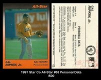 1991 Star Co All-Star #63 Personal Data