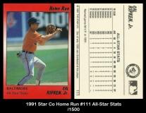 1991 Star Co Home Run #111 All-Star Stats