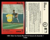 1991 Star Co Home Run #115 Honors & Awards 1