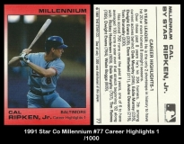 1991 Star Co Millennium #77 Career Highlights 1