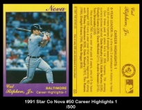 1991 Star Co Nova #50 Career Highlights 1