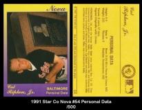 1991 Star Co Nova #54 Personal Data