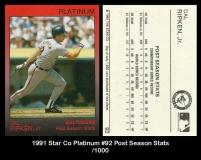 1991 Star Co Platinum #92 Post Season Stats