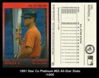 1991 Star Co Platinum #93 All-Star Stats