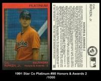 1991 Star Co Platinum #98 Honors & Awards 2