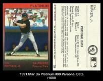 1991 Star Co Platinum #99 Personal Data