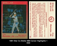 1991 Star Co Stellar #86 Career Highlights 1