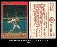 1991 Star Co Stellar #88 Honors & Awards 1