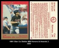 1991 Star Co Stellar #89 Honors & Awards 2