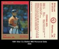 1991 Star Co Stellar #90 Personal Data
