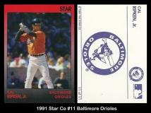 1991 Star Co #11 Baltimore Orioles