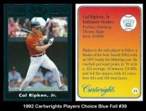 1992 Cartwrights Players Choice Blue Foil #39