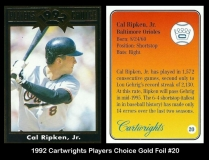 1992 Cartwrights Players Choice Gold Foil #20