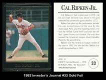 1992 Investors Journal #33 Gol Foil