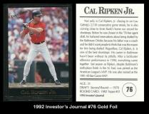 1992 Investors Journal #76 Gold Foil