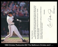 1992 Orioles Postcards #32 The Baltimore Orioles and I