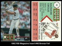 1992 RBI Magazine Insert #46 Bronze Foil