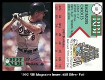 1992 RBI Magazine Insert #58 Silver Foil