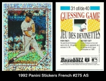 1992 Panini Stickers French #275 AS