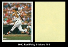 1992 Red Foley Stickers #81