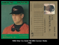 1992 Star Co Gold '92 #64 Career Stats
