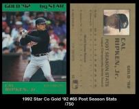 1992 Star Co Gold '92 #65 Post Season Stats