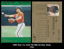 1992 Star Co Gold '92 #66 All-Star Stats