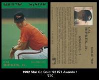 1992 Star Co Gold '92 #71 Awards 1