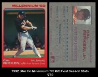 1992 Star Co Millennium '92 #20 Post Season Stats