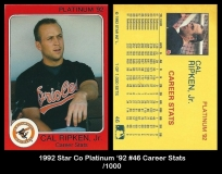 1992 Star Co Platinum '92 #46 Career Stats