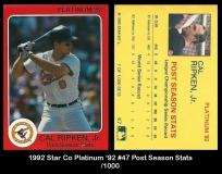 1992 Star Co Platinum '92 #47 Post Season Stats