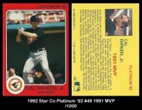 1992 Star Co Platinum '92 #49 1991 MVP