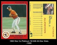 1992 Star Co Platinum '92 #49 All Star Stats