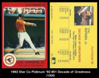 1992 Star Co Platinum '92 #51 Decade of Greatness