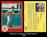 1992 Star Co Platinum '92 #53 Awards 1