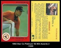 1992 Star Co Platinum '92 #54 Awards 2