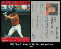 1992 Star Co Silver '92 #83 Post Season Stats