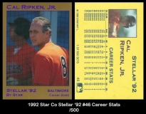 1992 Star Co Stellar '92 #46 Career Stats