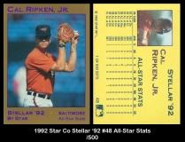 1992 Star Co Stellar '92 #48 All-Star Stats