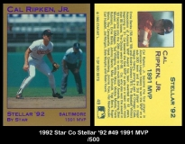 1992 Star Co Stellar '92 #49 1991 MVP