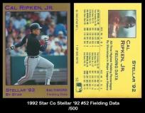 1992 Star Co Stellar '92 #52 Fielding Data