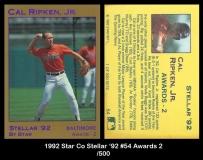1992 Star Co Stellar '92 #54 Awards 2