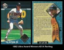 1992 Ultra Award Winners #21A RevNeg