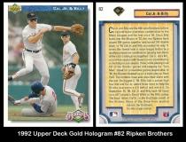 1992 Upper Deck Gold Hologram #82 Ripken Brothers