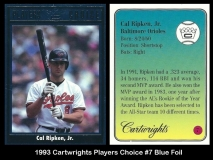1993 Cartwrights Players Choice #7 Blue Foil