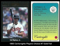 1993 Cartwrights Players Choice #7 Gold Foil