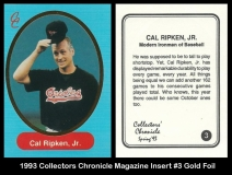 1993 Collectors Chronicle Magazine Insert #3 Gold Foil