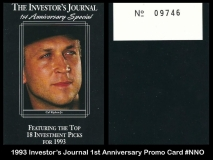 1993 Investors Journal 1st Anniversary Promo Card #NNO