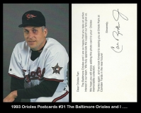1993 Orioles Postcards #31 The Baltimore Orioles and I