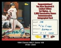 1994 Classic #AU1 Game 108